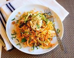 pumpkin and zucchini noodles,chili pesto-
