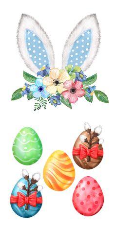 Easter Bunny Ears, Easter Eggs, Easter Photo Frames, Happy Easter Wallpaper, 1 Clipart, Easter Pictures, Bunny Art, Egg Art, Spring Art