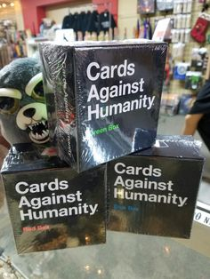 Cards Against Humanity red, blue and green boxes are here!
