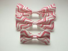 Pet Bow Tie - Pink & White Chevron - Over the Collar - Custom by HemptressDesigns on Etsy