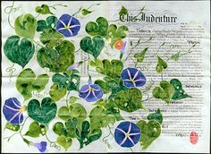 What's the story morning glory? by Gabby MALPAS   PLATFORMstore   Watercolour, Oil, and Gouache on Vellum Indenture document [1916]