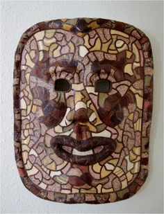 Beaded Paper Mache Mask:  (Paper Mache, Leather Strips, Seed Beads - designed and created by Karen J Lauseng).