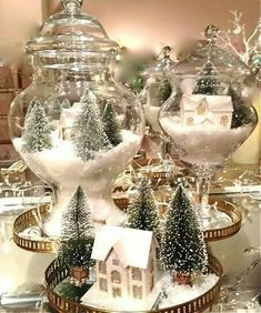 We are very proud to introduce some Elegant Table Centerpiece Ideas For Christmas that will just make your Christmas table standout. Holiday centerpiece decorations are a certain elegant arrangements for your holiday table made of decorative items used i Christmas Jars, Silver Christmas, Elegant Christmas, Christmas Holidays, Christmas Crafts, Christmas Ideas, Christmas Vignette, Christmas Island, Christmas Center Piece Ideas