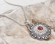 Silver Pendant Garnet Gemstone Gold and Silver by GefenJewelry