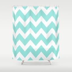 Chevron 4 Tiffany Blue Shower Curtain