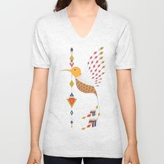 Vintage ethnic tribal aztec bird Unisex V-Neck