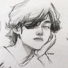 Kpop Drawings, Art Drawings Sketches Simple, Pencil Art Drawings, Pretty Art, Cute Art, Arte Emo, Arte Sketchbook, Art Reference Poses, Aesthetic Art