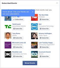 Facebook ahora notifica sobre eventos cercanos a la localidad del usuario