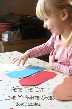Book Activities for Kids: Encourage children's love of literacy by bringing books alive through activities. To go with the book Pete the Cat, I love my white shoes create some simple fun literacy activities with ideas included in the post for less and more able children as well.