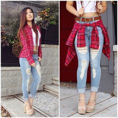 Light Ripped Jeans with White T and Red Plaid Button Down - http://AmericasMall.com/categories/lingerie-underwear.html