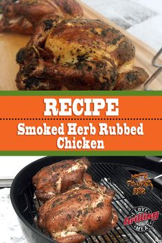 Strong in aroma and rich in flavor, this herb rubbed chicken is a great excuse to fire up your smoker and do this cook for the entire family. Smoked Beer Can Chicken, Smoked Chicken Recipes, Canned Chicken, Pulled Chicken, Jerky Recipes, Grilling Recipes, Cooking Recipes, Smoker Recipes, Smoked Beef Jerky