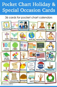 Holiday and special occasion calendar cards for pocket chart calendars. Includes 36 cards in pdf format.