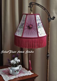 Victorian style lamp shade white panels with lace lavender victorian style lamp shade on a old remington bridge lamp silk rosette panel french trim and fringe hand dyed and hand made by georgette conrad aloadofball Image collections