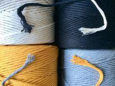 Super zacht 5 mm (45 plies) string katoen macrame touw, 500 meter in grijs, gebroken wit, zwart en okergeel