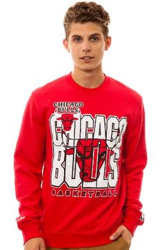 Mitchell & Ness Men's The Chicago Bulls Crewneck Sweatshirt Extra Large Red - http://weheartchicagobulls.com/bulls-fan-shop/mitchell-ness-mens-the-chicago-bulls-crewneck-sweatshirt-extra-large-red