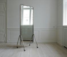 Floor Mirror. 1950′s, Sweden. Funkis style. Metal frame. On wheels.