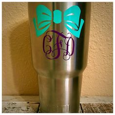 Monogrammed Bow Decal for YETI / RTIC Tumbler by MotherMeI on Etsy
