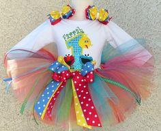 Elmo, Big Bird, Cookie Monster Birthday Splash Tutu Outfit