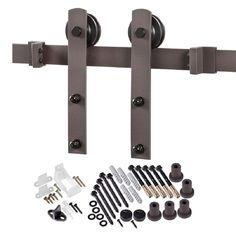 TRUporte 78.75 in. Bronze Straight Strap Barn Door Hardware