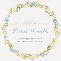 Floral Rustic Wedding Blue FLORAL CLIPART Heart Wreaths Ribbons 15 Images 300 Dpi Eps Png Files