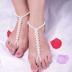 69c4e9838 2.2AUD - 1Pcs Faux Pearl Anklet Chain Barefoot Sandal Bridal Beach Ankle  Bracelet  ebay