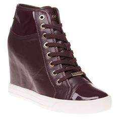 650fe0389fc Womens Maroon Dkny Grommet Zip Trainers at Soletrader - Our best-seller is  back! Grommet sneaker in deep red leather with a hidden wedge