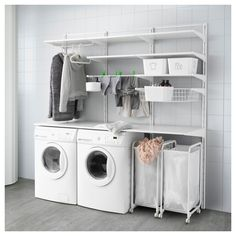 Möbel & Einrichtungsideen für dein Zuhause IKEA - ALGOT, wall rail / floors / laundry holder, The parts of the ALGOT series can be combined in many ways and can thus be adapted to the need and t Ikea Laundry Room, Garage Laundry, Ikea Closet, Laundry Closet, Laundry Room Storage, Small Laundry, Laundry Room Design, Storage Room, Bathroom Storage