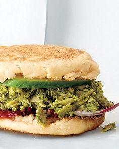 Lunch idea: pesto tuna on an English muffin.