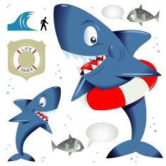 Wasser Smart Shark vector art illustration