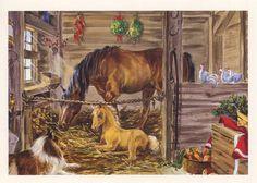 VINTAGE HORSE FOAL COLLIE DOG CARROTS APPLES WHITE CHICKEN MISTLETOE CARD PRINT | eBay