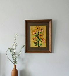 Floral Cross Stitch Framed Needlepoint Vintage Crewel