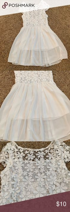 Congcong Girls Flower Tulle Sleeveless Dress with Pearl Necklace and Bowtie Front