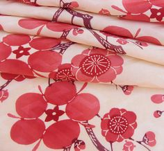 Japanese Kimono Fabric - Ume Plum Blossoms on Cream