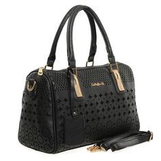 Black  -  Hollow Out Design Rhinestones Lady Handbag Travel Bag. £23.99