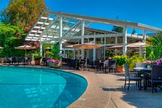 Dinah's Garden Hotel located in Palo Alto, California. Furnished by Patio Patio Productions.