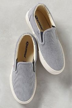 Superga Striped Slip-On Sneakers Navy 7.5 Sneakers