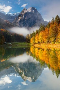 mountains, golden leaf trees, mirror water reflection Garmisch-Partenkirchen, Germany    #beautiful #picture
