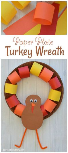 this paper plate turkey wreath is a fun kid craft and decoration for thanksgiving