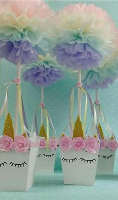 Unicorn Party - Ideas This idea is great for our next unicorn party! - Unicorn Party – Ideas This idea is great for our next unicorn party! All Unicorn party guests wil - Party Unicorn, Unicorn Themed Birthday Party, 1st Birthday Parties, Girl Birthday, Birthday Ideas, Unicorn Ears, 1st Birthdays, Unicorn Centerpiece, Baby Shower Centerpieces