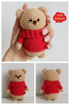 Crochet Teddy Bear Amigurumi Free Patterns Crochet Baby Toys, Crochet Teddy, Crochet Bear, Free Crochet, Crochet Animals, Crochet Elephant Pattern Free, Free Pattern, Amigurumi Patterns, Crochet Patterns