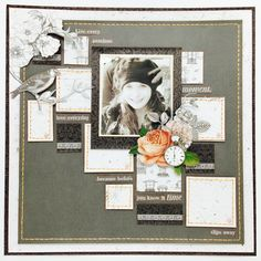 Merly Impressions November crop kit layout, using Ooh La La Kaisercraft collection.