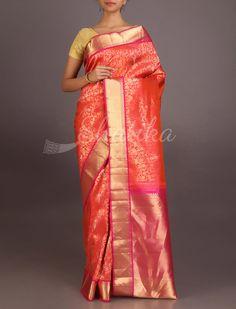 Bhagya Blooming Gold In Orange #UppadaWeddingSilkSaree