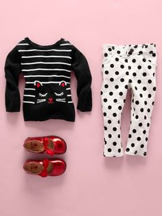 Toddler girls' fashion | Kids' clothes | Cat sweater | Polka dot jeggings | Back-to-school | The Children's Place