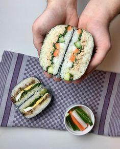Onigirazu japanische Reissandwiches pinch of spice Rice Sandwich, Sandwich Recipes, Dog Food Recipes, Vegetarian Recipes, Pinch Of Spice, Pancake Healthy, Onigirazu, Sandwiches, Rice Recipes For Dinner