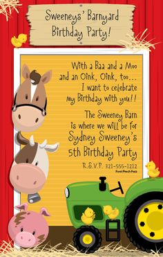 Party in the Barn Farm Invitations