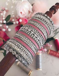 Wedding jewllery is not complete with bangles. Make a strong stylish statement with these Heavy Metal Bridal Bangle Designs! Indian Jewelry Earrings, Fancy Jewellery, Indian Wedding Jewelry, Indian Bangles, Fancy Earrings, Diamond Jewellery, Indian Bridal, Egyptian Jewelry, Egyptian Art