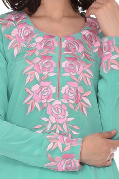 Limpet Shell- Pink Parsi Roses Embroidered Tunic