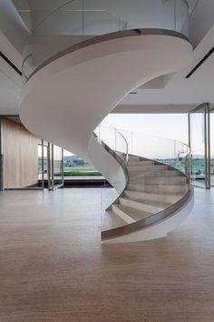 SAKO CHATER Modern Staircase, Staircase Design, Grand Staircase, Staircase Railings, Spiral Staircase, Stairways, Escada Em Curvas, Metal Stairs, Curved Glass