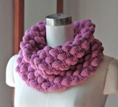 Pink Purple Acrylic Wool Scarf Seamless Circle Cowl by latuta, $29.00