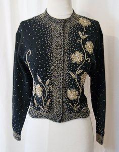 Best Ever 1950s beaded sweater scalloped hem hand by wearitagain, $198.00